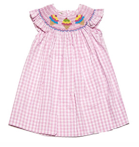 anavini girls pink check smocked ice cream cones dress