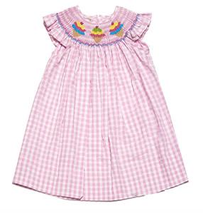 anavini girls pink check smocked ice cream cones dress