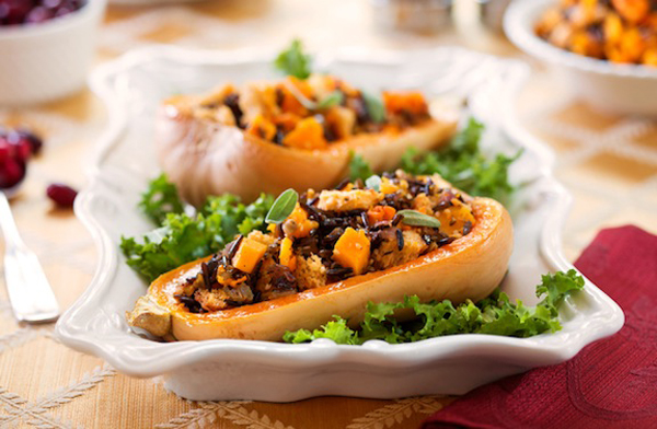 Butternut Squash with Whole Wheat, Wild Rice, & Onion Stuffing