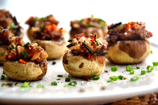 Gluten-Free Pine Nut Stuffed Mushrooms