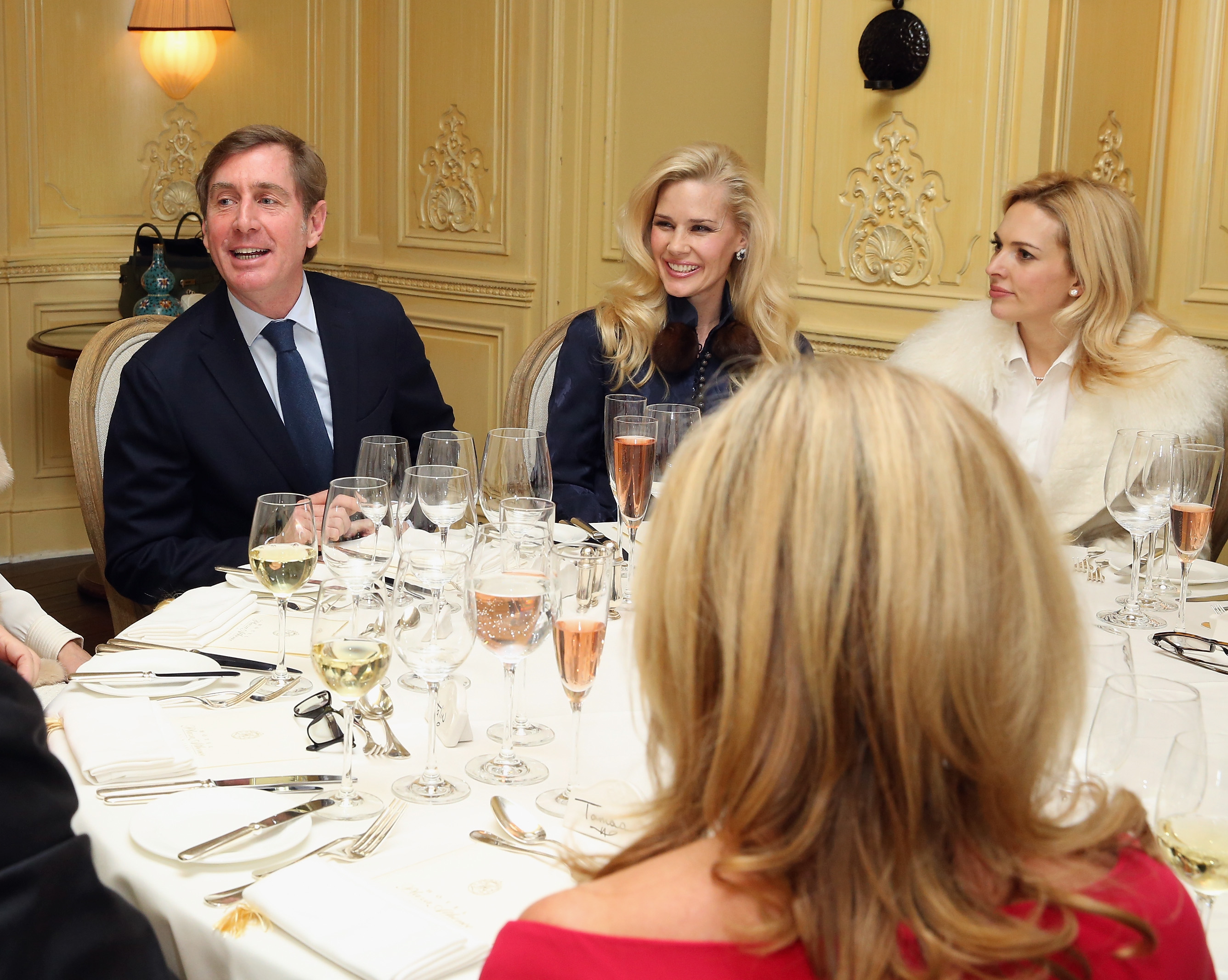 NEW YORK, NY - JANUARY 08: Prince Charles Henri Lobkowicz, New York Socialite Michelle-Marie Heinemann and Anne Baker attend a Luncheon At Plaza Athenee on January 8, 2016 in New York City. (Photo by Robin Marchant/Getty Images for Old Fashioned Mom Magazine)