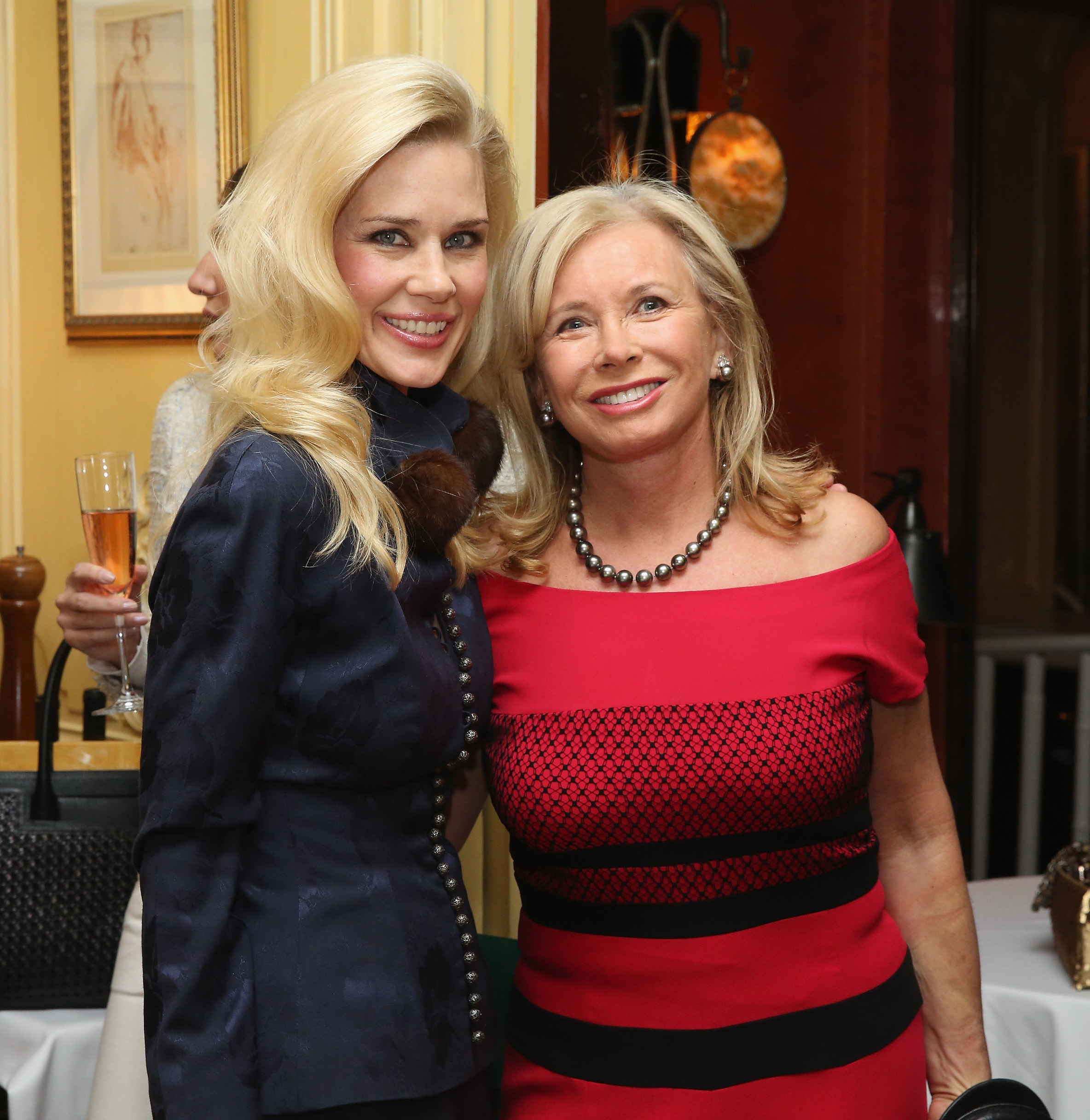 NEW YORK, NY - JANUARY 08: New York Socialite Michelle-Marie Heinemann (L) and Sharon Bush attend a Luncheon For Prince Charles Henri Lobkowicz At Plaza Athenee on January 8, 2016 in New York City. (Photo by Robin Marchant/Getty Images for Old Fashioned Mom Magazine)