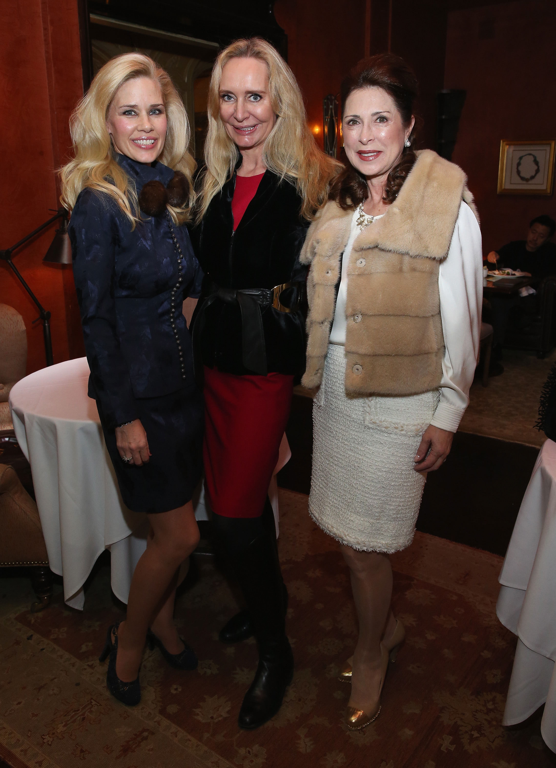 NEW YORK, NY - JANUARY 08: New York Socialite Michelle-Marie Heinemann, Marie-Claire Gladstone and Ann Van Ness attend a Luncheon For Prince Charles Henri Lobkowicz At Plaza Athenee on January 8, 2016 in New York City. (Photo by Robin Marchant/Getty Images for Old Fashioned Mom Magazine)