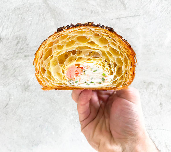 My Favorite! Lox, Cream Cheese, Capers, Rolled and Baked Into An Everything Spice Covered Croissant.