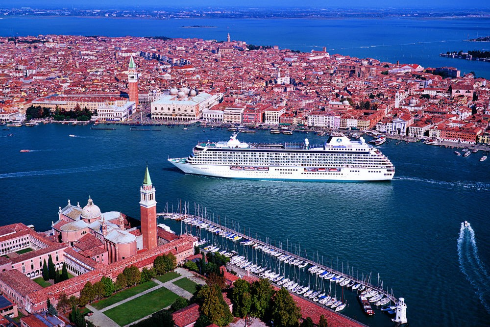 Sailing through Venice, Italy aboard the Crystal Serenity. Photo courtesy Crystal Cruises.