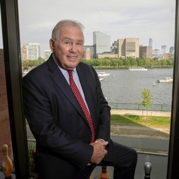 Longtime member Joe O'Donnell, seen here at his Cambridge Parkway office, is stepping down from the Harvard Corporation.. Jon Chase/Harvard Staff Photographer